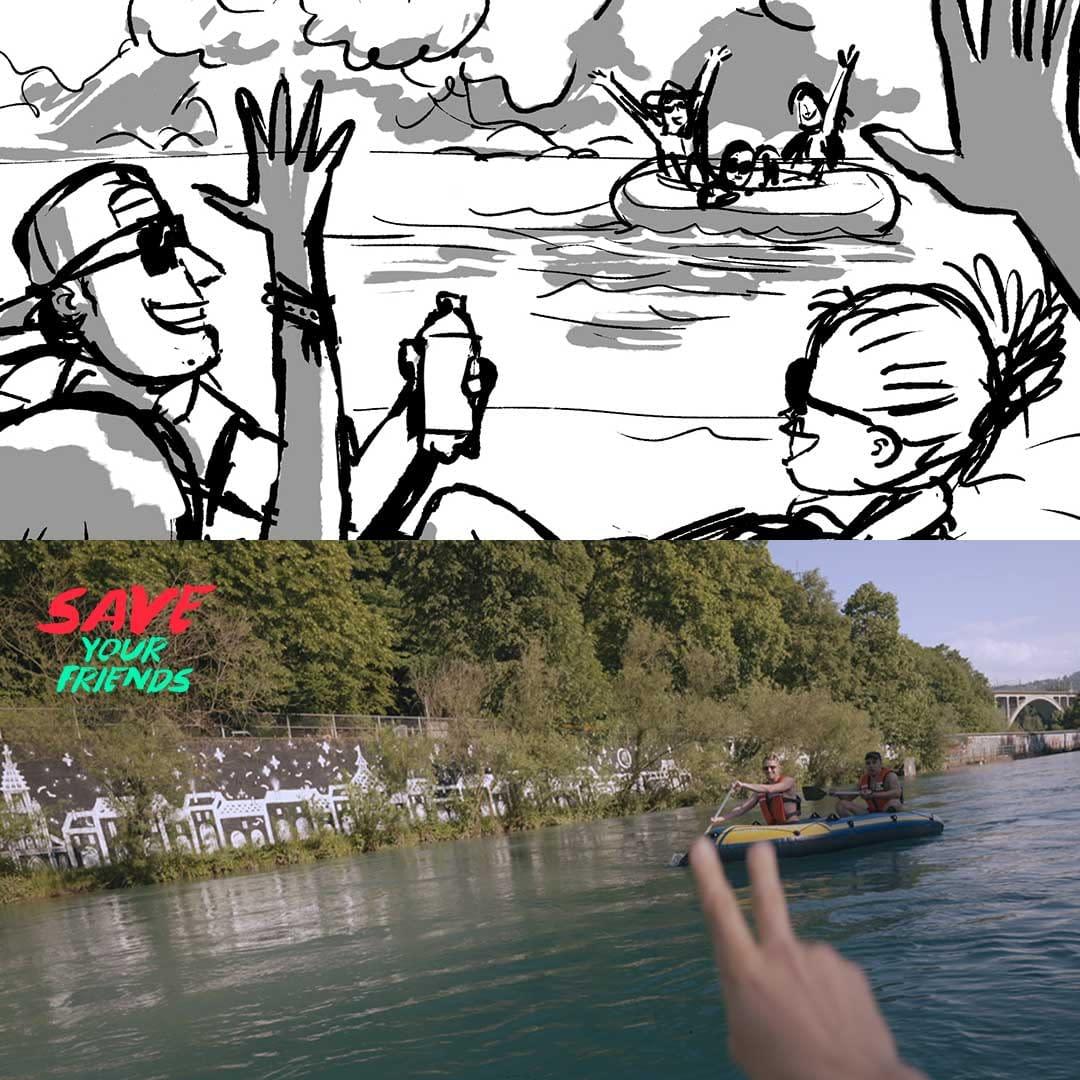 Filmproduktion Bern - BOFF. - Visana und SLRG - Interaktives Video – Storyboard vs. Film – Anderes Boot auf Fluss