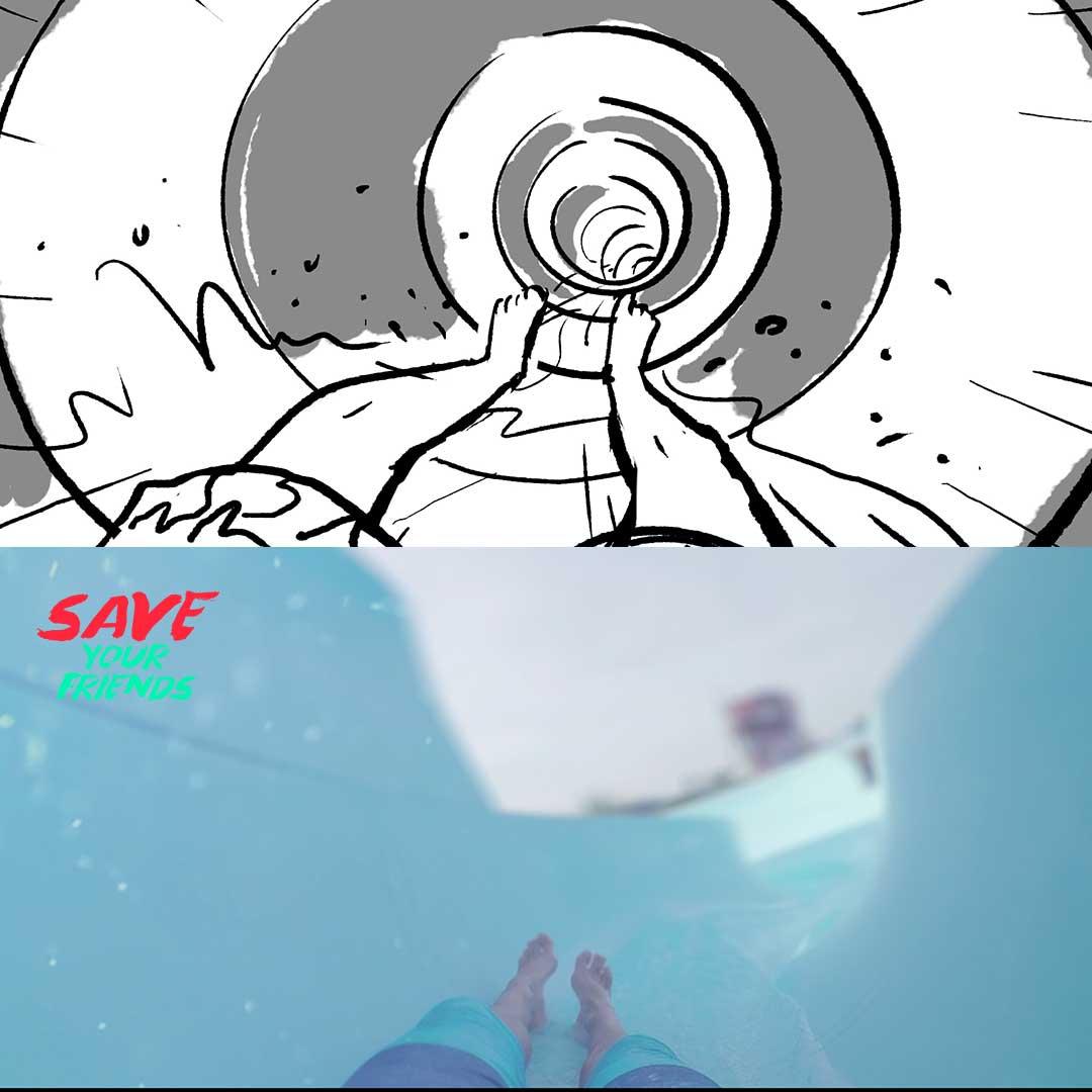 Filmproduktion Bern - BOFF. - Visana und SLRG - Interaktives Video – Storyboard vs. Film – Intro Wasserrutsche
