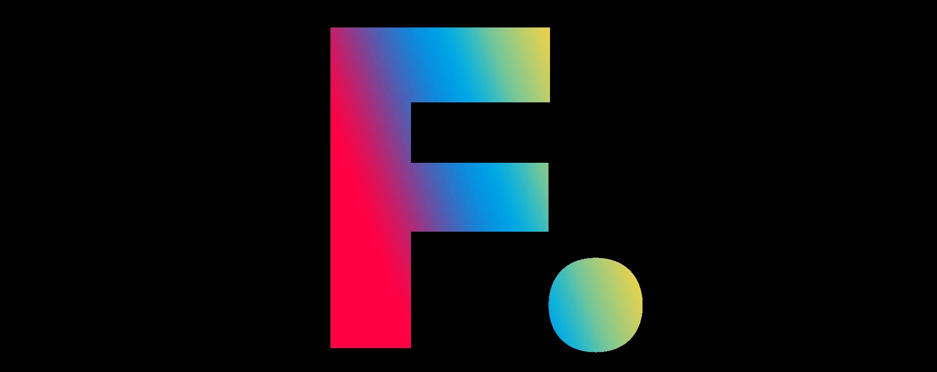 Filmproduktion Bern - BOFF.  - Buchstabe F. Farbverlauf